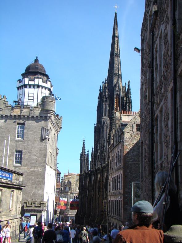 Looking down the Royal Mile from Edinburgh Castle