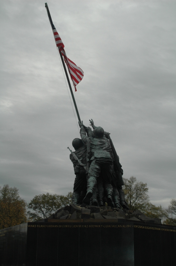 Just past the finish line. The Iwo Jima Monument