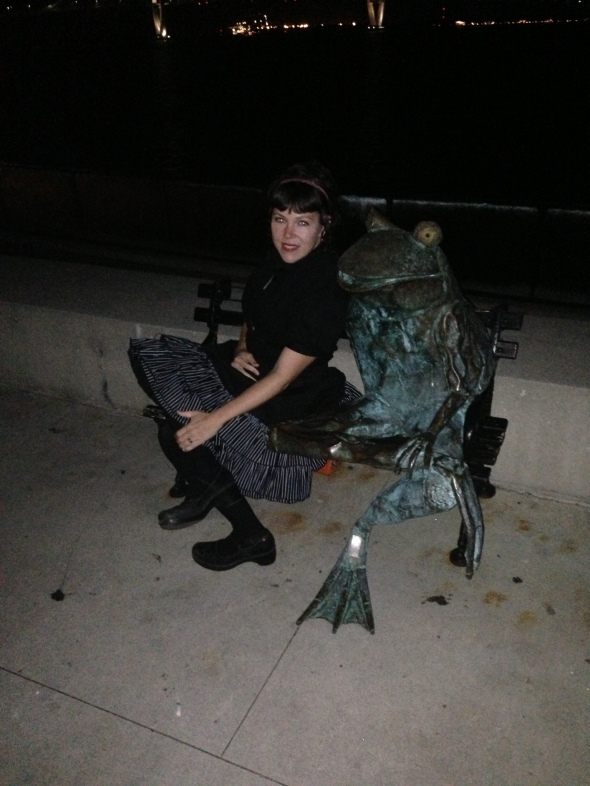 Me and Mr. Frog, with one leg crossed over.