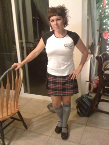 Heading out to play the pipes at the pub - Spring, 2011