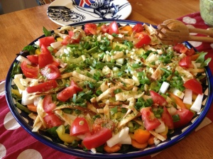 A layered salad for which I made a delicious cilantro-lime dressing
