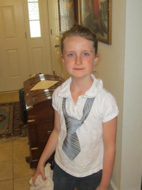 Elsie in her tie (one of John's)