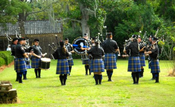 Charleston Police Pipes and Drums on Saturday- I'm the girl just to the left of the drum facing away from the camera.