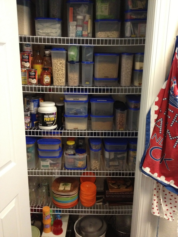 A pantry full of nuts, with the food processor now much more accessible